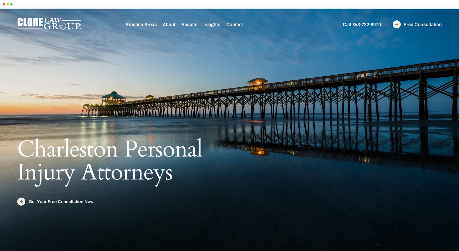 Home page from Clore Law Group