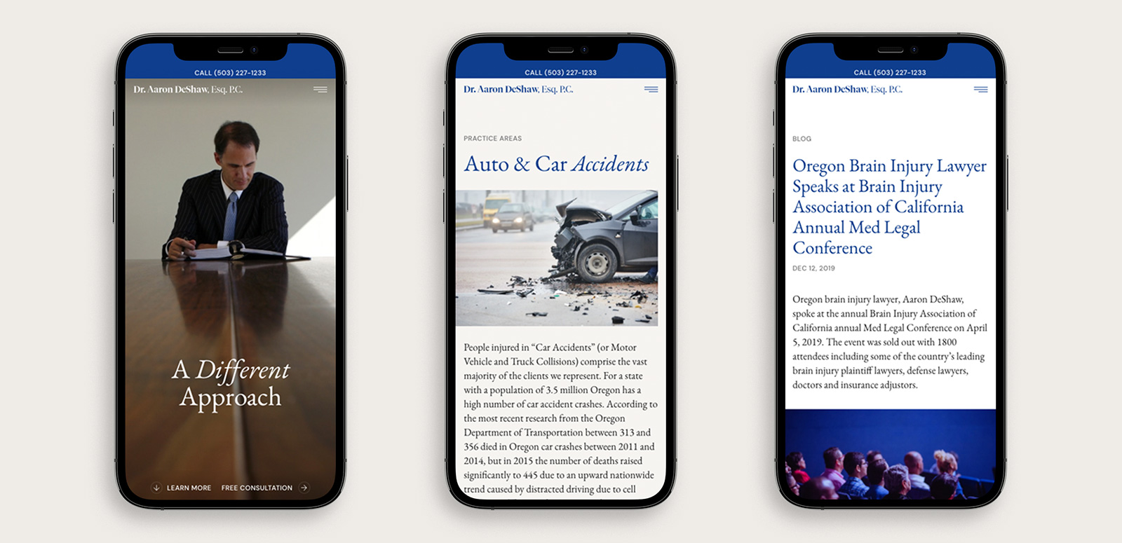 Mockups of DeShaw Law's mobile site