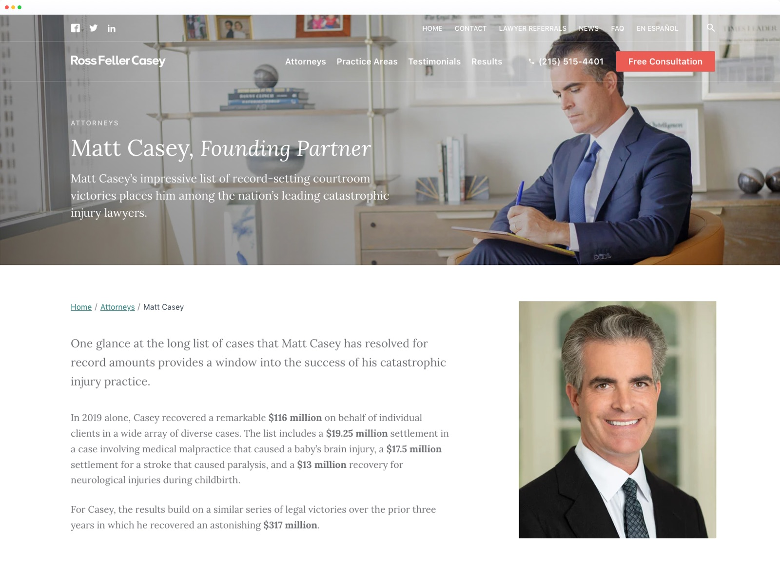 Attorney profile page from Ross Feller Casey